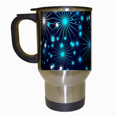 Digitally Created Snowflake Pattern Background Travel Mugs (White)