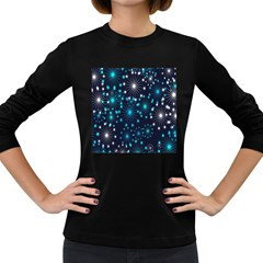 Digitally Created Snowflake Pattern Background Women s Long Sleeve Dark T-Shirts