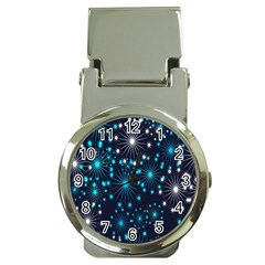 Digitally Created Snowflake Pattern Background Money Clip Watches