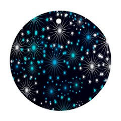 Digitally Created Snowflake Pattern Background Round Ornament (two Sides)