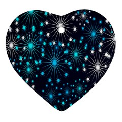 Digitally Created Snowflake Pattern Background Heart Ornament (two Sides)