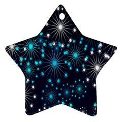 Digitally Created Snowflake Pattern Background Star Ornament (two Sides)