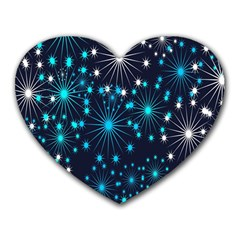 Digitally Created Snowflake Pattern Background Heart Mousepads