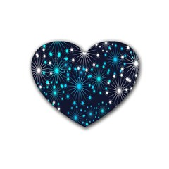Digitally Created Snowflake Pattern Background Heart Coaster (4 pack)