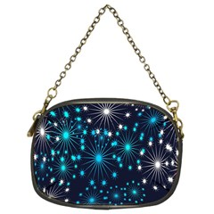 Digitally Created Snowflake Pattern Background Chain Purses (two Sides)