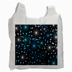 Digitally Created Snowflake Pattern Background Recycle Bag (One Side)