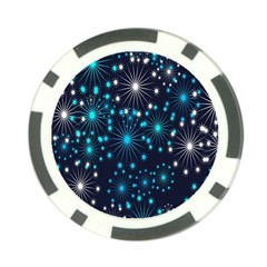Digitally Created Snowflake Pattern Background Poker Chip Card Guard (10 pack)
