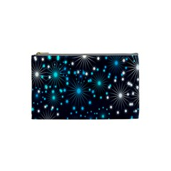 Digitally Created Snowflake Pattern Background Cosmetic Bag (Small)