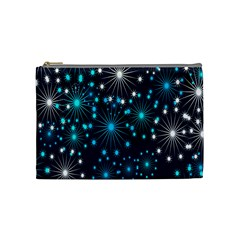 Digitally Created Snowflake Pattern Background Cosmetic Bag (Medium)