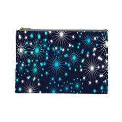 Digitally Created Snowflake Pattern Background Cosmetic Bag (Large)