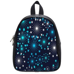 Digitally Created Snowflake Pattern Background School Bags (Small)