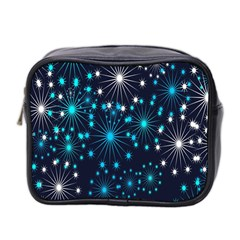 Digitally Created Snowflake Pattern Background Mini Toiletries Bag 2 Side