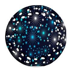 Digitally Created Snowflake Pattern Background Ornament (Round Filigree)