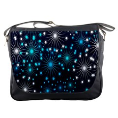 Digitally Created Snowflake Pattern Background Messenger Bags