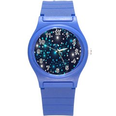 Digitally Created Snowflake Pattern Background Round Plastic Sport Watch (s)