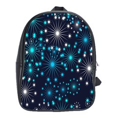 Digitally Created Snowflake Pattern Background School Bags (XL)
