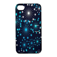 Digitally Created Snowflake Pattern Background Apple iPhone 4/4S Hardshell Case with Stand