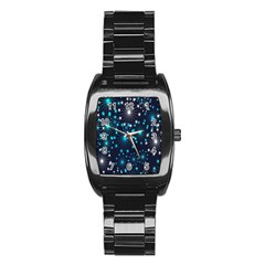 Digitally Created Snowflake Pattern Background Stainless Steel Barrel Watch