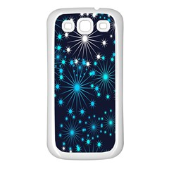 Digitally Created Snowflake Pattern Background Samsung Galaxy S3 Back Case (White)