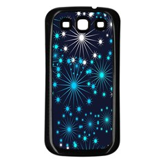 Digitally Created Snowflake Pattern Background Samsung Galaxy S3 Back Case (black)