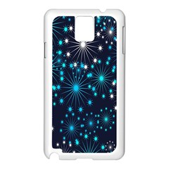 Digitally Created Snowflake Pattern Background Samsung Galaxy Note 3 N9005 Case (White)