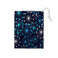 Digitally Created Snowflake Pattern Background Drawstring Pouches (Medium)