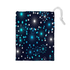 Digitally Created Snowflake Pattern Background Drawstring Pouches (large)