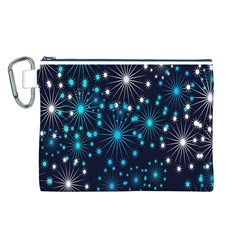 Digitally Created Snowflake Pattern Background Canvas Cosmetic Bag (L)