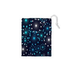 Digitally Created Snowflake Pattern Background Drawstring Pouches (XS)