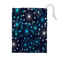 Digitally Created Snowflake Pattern Background Drawstring Pouches (Extra Large)