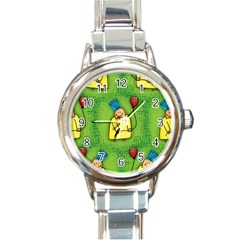 Party Kid A Completely Seamless Tile Able Design Round Italian Charm Watch