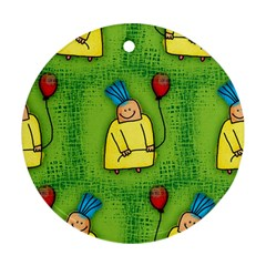 Party Kid A Completely Seamless Tile Able Design Ornament (round)