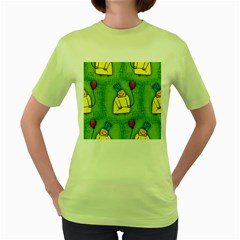 Party Kid A Completely Seamless Tile Able Design Women s Green T Shirt