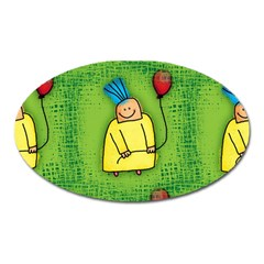 Party Kid A Completely Seamless Tile Able Design Oval Magnet