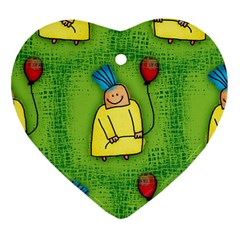 Party Kid A Completely Seamless Tile Able Design Heart Ornament (Two Sides)