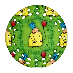 Party Kid A Completely Seamless Tile Able Design Round Filigree Ornament (Two Sides)