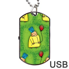 Party Kid A Completely Seamless Tile Able Design Dog Tag USB Flash (One Side)