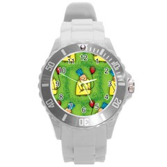 Party Kid A Completely Seamless Tile Able Design Round Plastic Sport Watch (L)