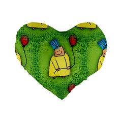 Party Kid A Completely Seamless Tile Able Design Standard 16  Premium Heart Shape Cushions