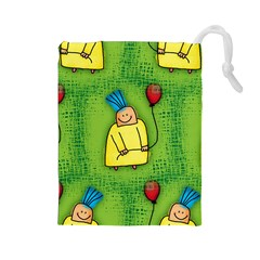 Party Kid A Completely Seamless Tile Able Design Drawstring Pouches (large)