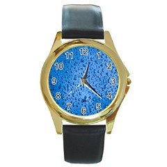 Water Drops On Car Round Gold Metal Watch