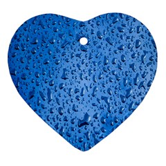 Water Drops On Car Heart Ornament (Two Sides)