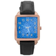 Water Drops On Car Rose Gold Leather Watch
