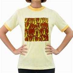 Cartoon Grunge Cat Wallpaper Background Women s Fitted Ringer T-Shirts