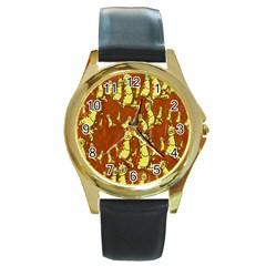 Cartoon Grunge Cat Wallpaper Background Round Gold Metal Watch