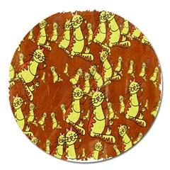 Cartoon Grunge Cat Wallpaper Background Magnet 5  (round)