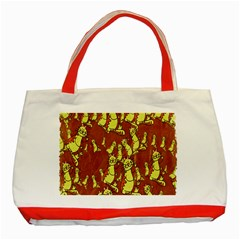 Cartoon Grunge Cat Wallpaper Background Classic Tote Bag (Red)