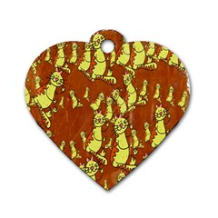 Cartoon Grunge Cat Wallpaper Background Dog Tag Heart (One Side)