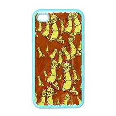 Cartoon Grunge Cat Wallpaper Background Apple iPhone 4 Case (Color)
