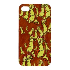 Cartoon Grunge Cat Wallpaper Background Apple Iphone 4/4s Hardshell Case